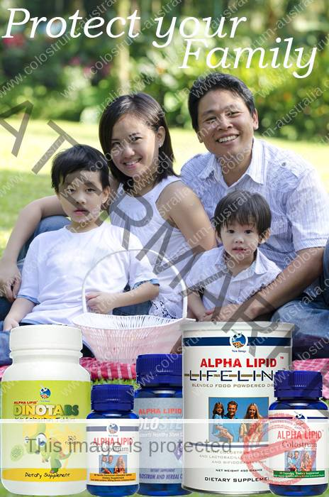 Happy Asian Family with Colostrum Products