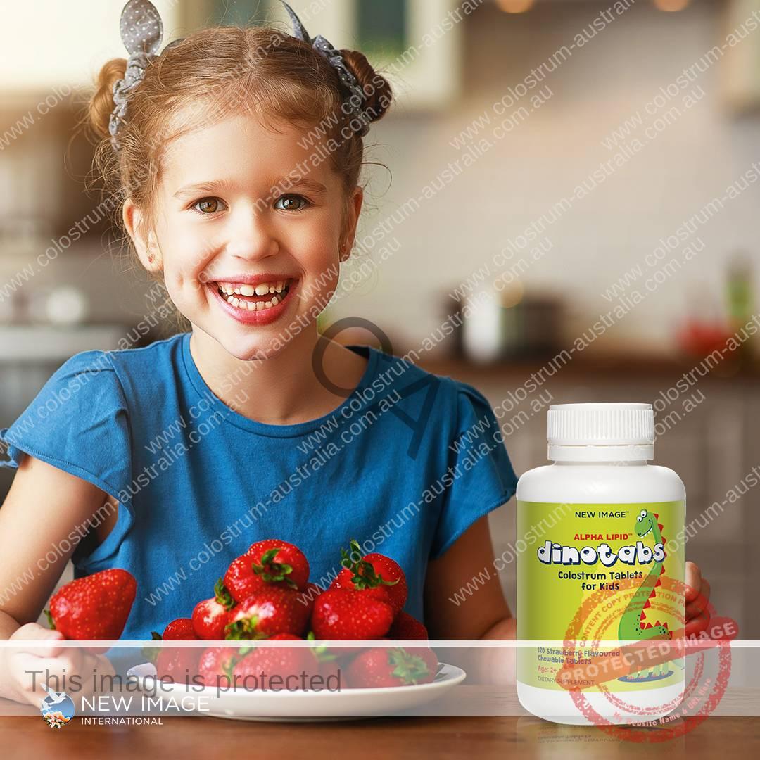 Children enjoy the taste of Alpha Lipid™ Dinotabs Strawberry flavoured