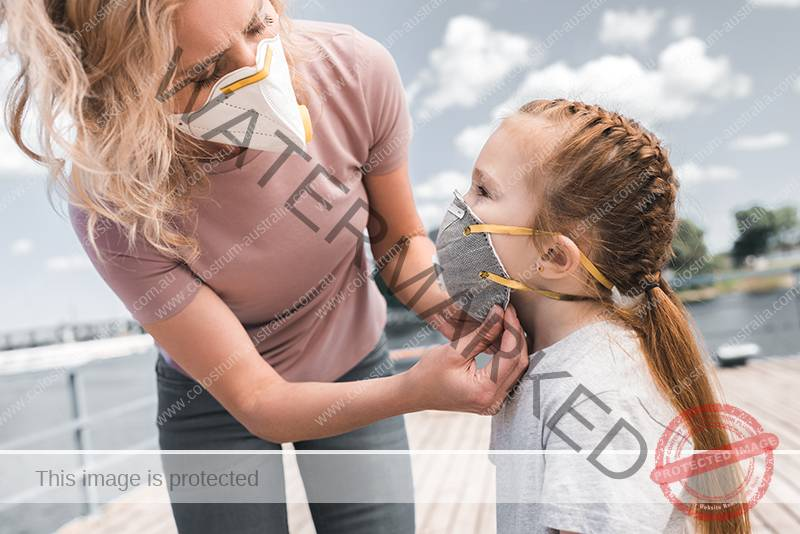 Mother protecting child with face mask